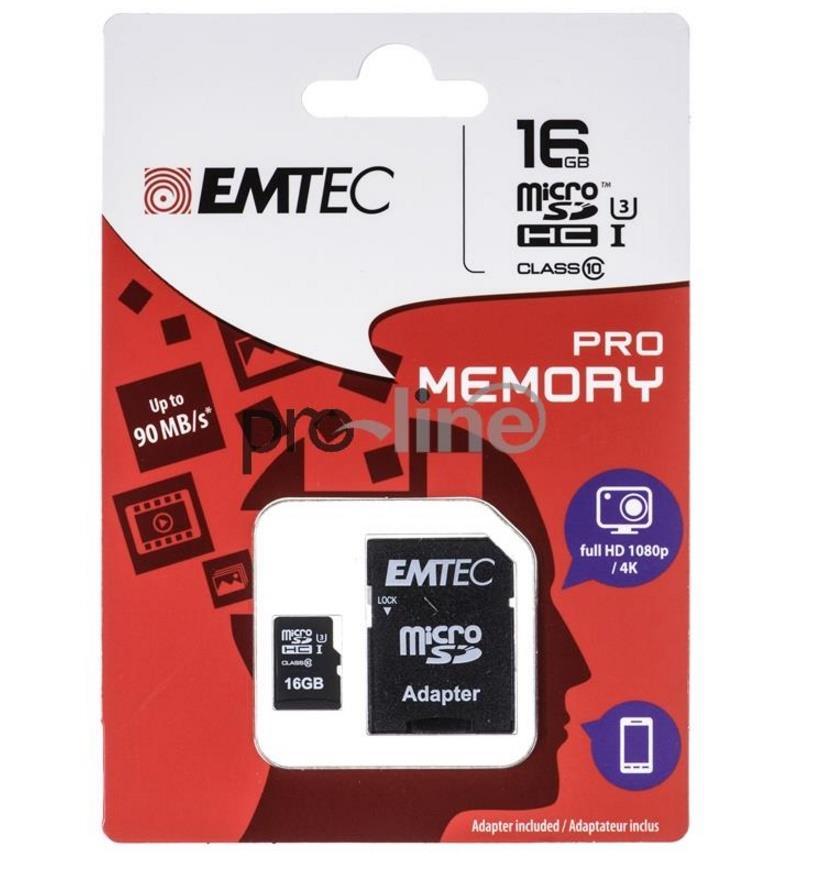 Emtec memory card microSDHC 16GB Class 10 Pro UHS-I U3 (90MB/s, 80MB/s)