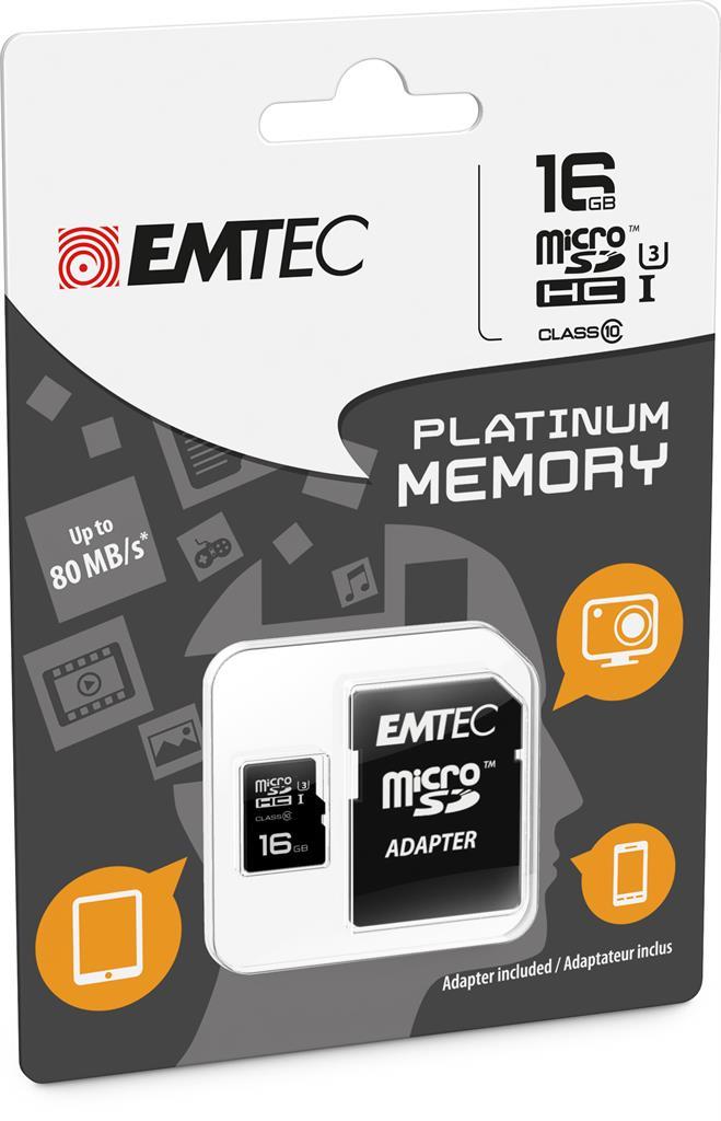 EMTEC Micro SDHC karta 16GB Class 10 |80MB/s;45MB/s|UHS-3 Platinium+adaptér SDHC