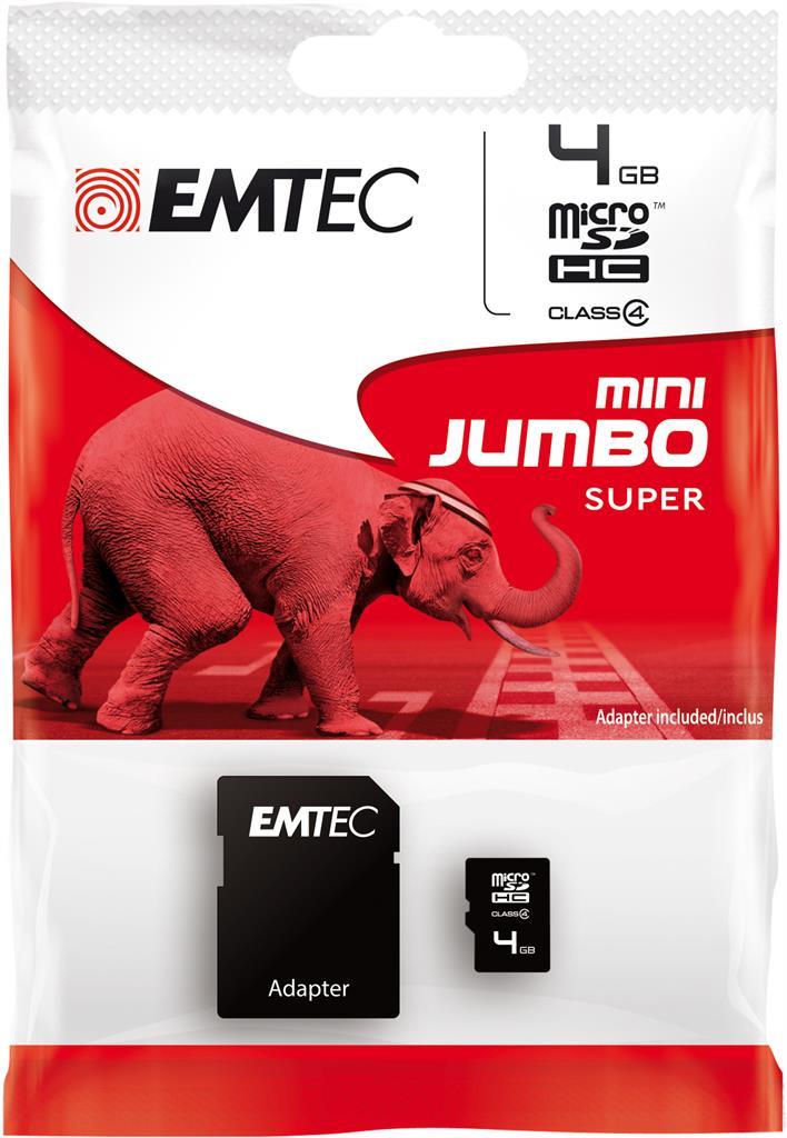 EMTEC Micro SDHC karta 8GB 60X Class 4 (15MB/s, 6MB/s) + adaptér SDHC